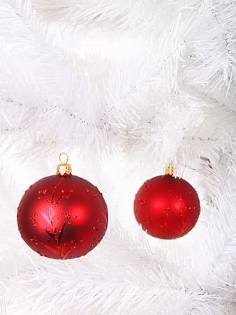 Close photo of two red bauble