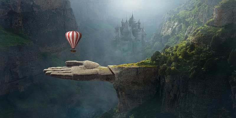 Red and white striped hot air balloon above gray human hand mountain