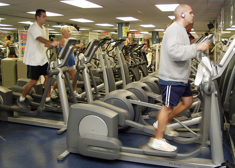People exercising on elliptical trainers