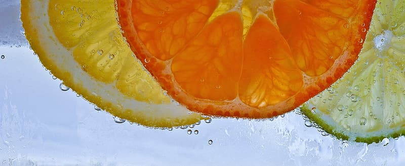 Slices of lemon, orange fruit, and lime in water