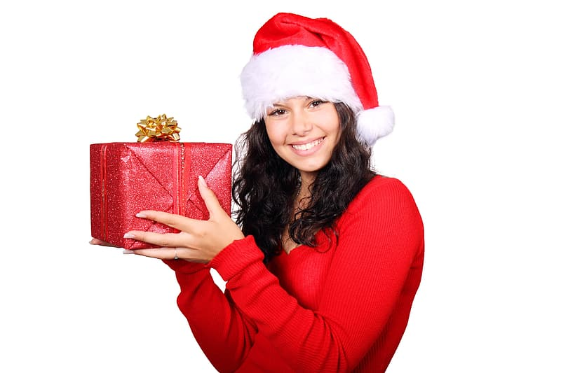 Woman in Santa suit holding red box