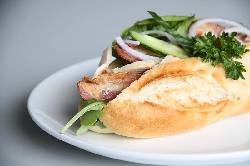 Bread with bacon and herbs