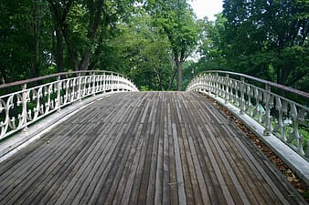 Photo of a empty white wooden bridge during daytime