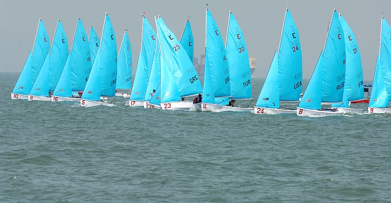 Blue and white sailboat event