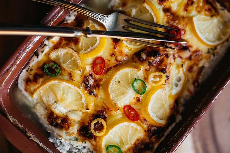 Fish casserole with lemon and herbs