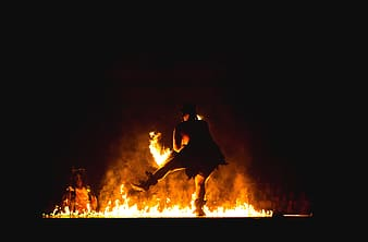 Fire dancing during night