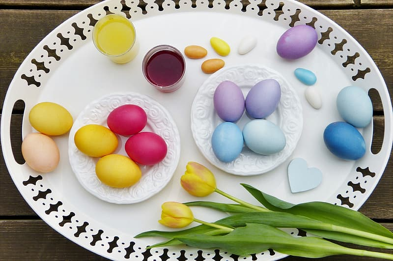 Assorted-color egg lot on white plate
