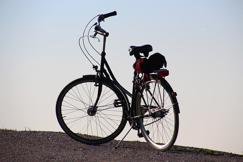 Black and red city bicycle