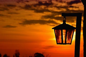 Torch light during sunset