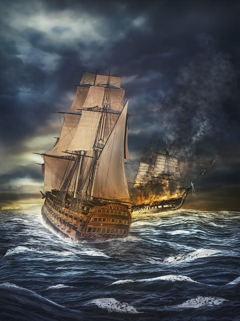 Photography or two brown ship battle in ocean