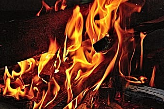 Closeup photo of burning firewood