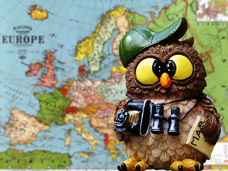 Brown and multicolored owl figure