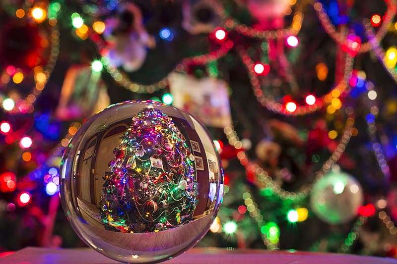 Selective focus of grey bauble