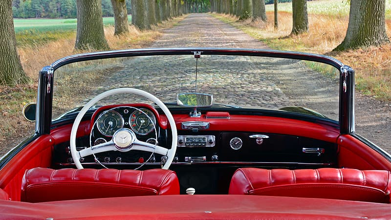 Red and black convertible car