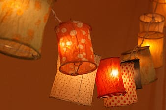 Selective focus photography of assorted-color lanterns