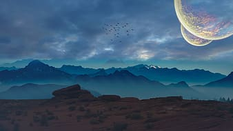 Birds flying in the sky above mountain painting