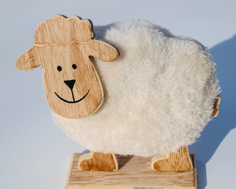 Brown and white sheep soft ride on toy
