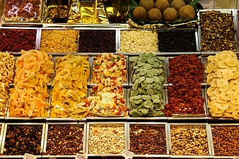 Pile of spices and peanuts