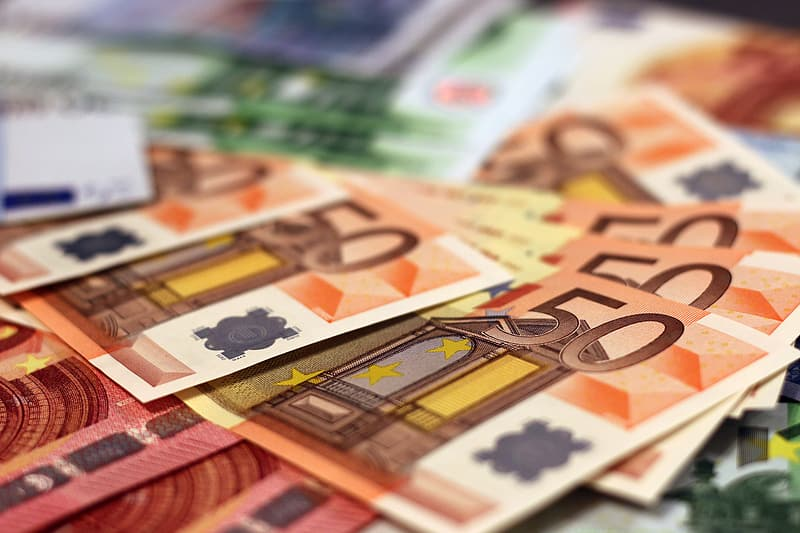 Selective focus photography of 50 banknotes