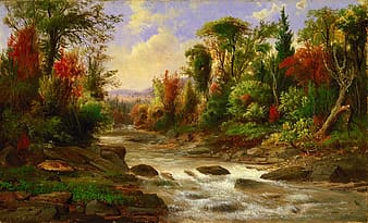 Photo of river surround by trees painting