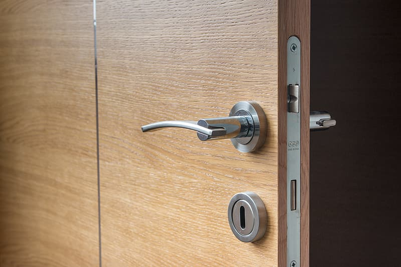 Silver-colored door lever