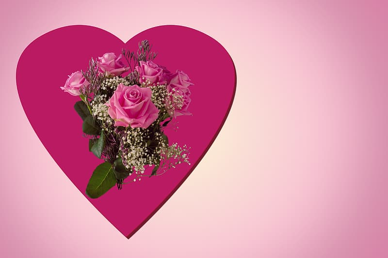 Pink heart with pink rose bouquet