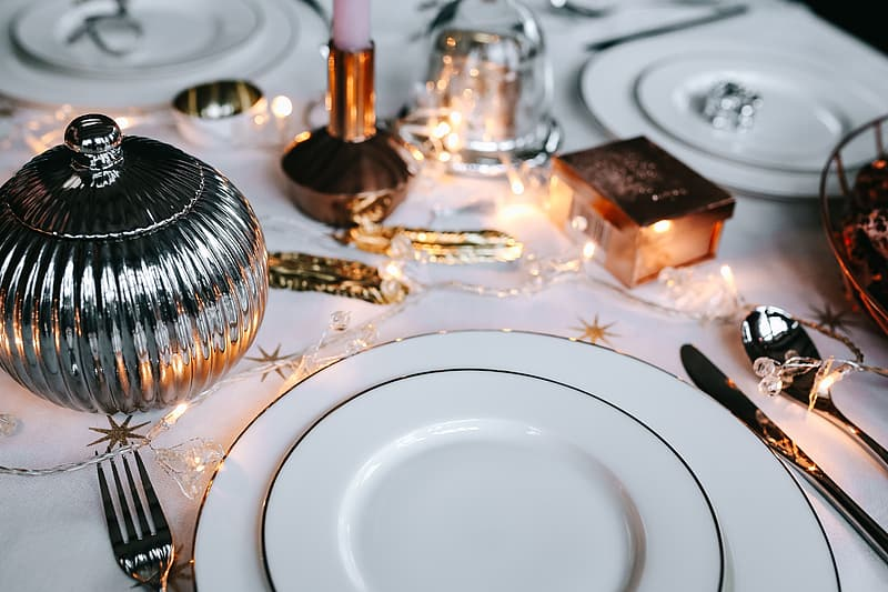 White ceramic plate on table