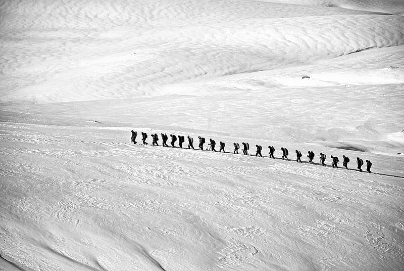 People walking on snow covered land