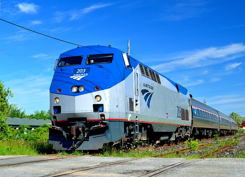 Blue and gray train