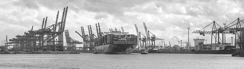 Grayscale photo of cargo ship on sea