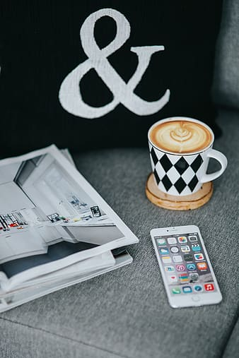 Resting with magazines and cup of coffee