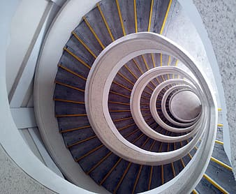 Architectural photography of a twirl stair