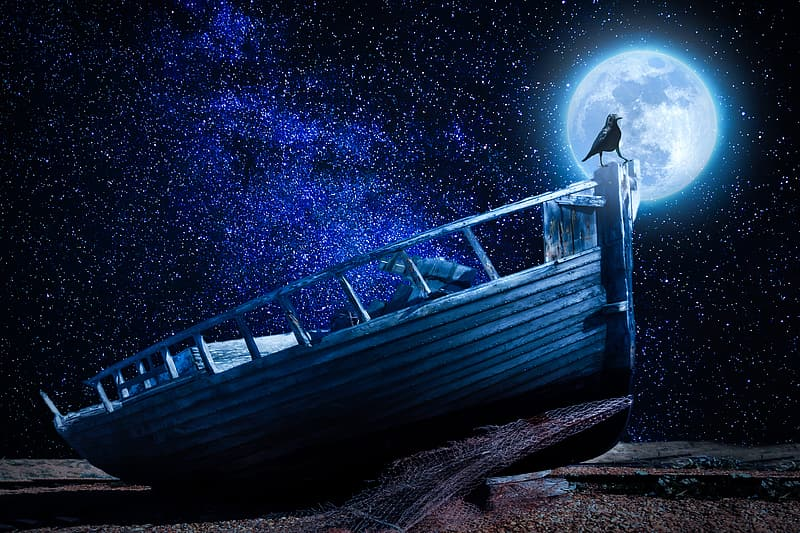 Black bird on top of brown wooden boat during full moon illustration