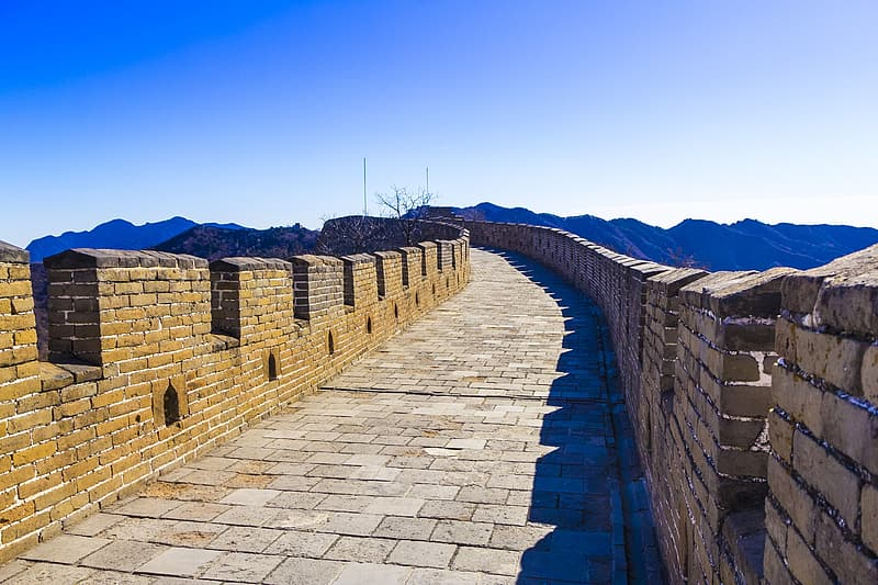 Great Wall of China under blue sky