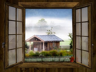 Brown wooden house illustration