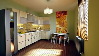 White wooden kitchen cabinets and drawers