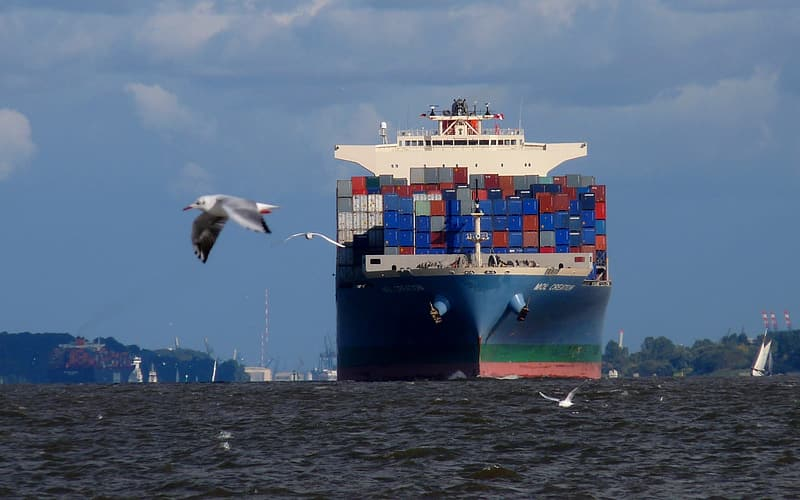 White bird flying over the cargo ship during daytime