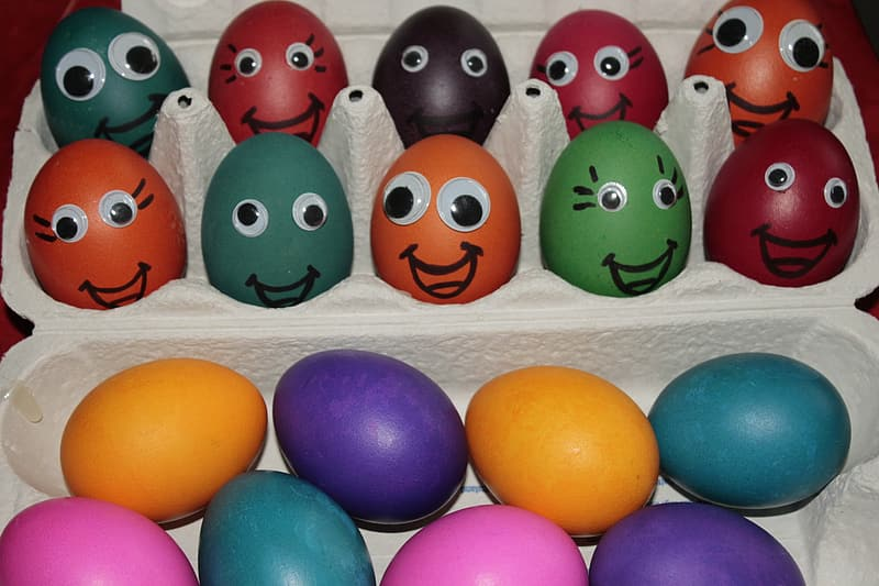 Assorted-color Easter eggs with gray tray