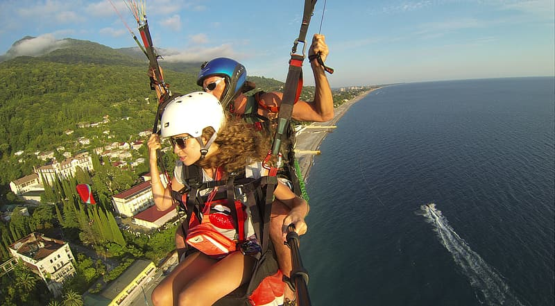 Two people on paragliding