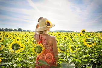 Woman in red and white floral sleeveless dress standing on sunflower field during daytime
