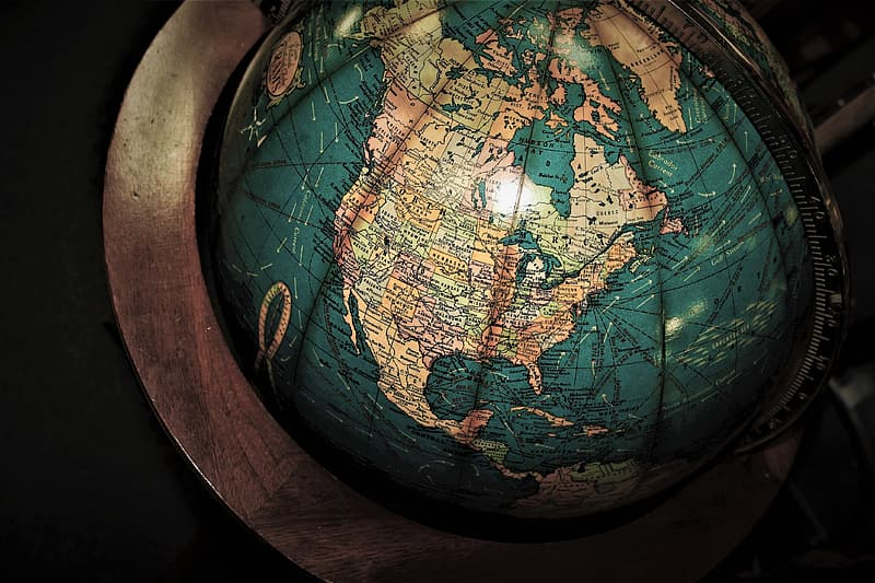 Brown and blue desk globe