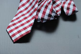 Red and white necktie