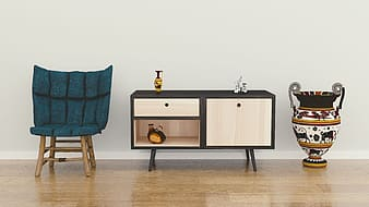 Brown and black wooden sideboard