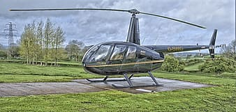 Gray helicopter on land