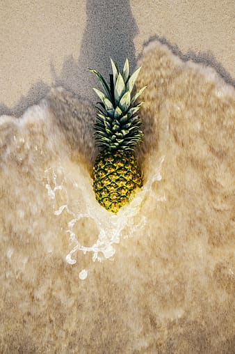 Photo of pineapple on shore