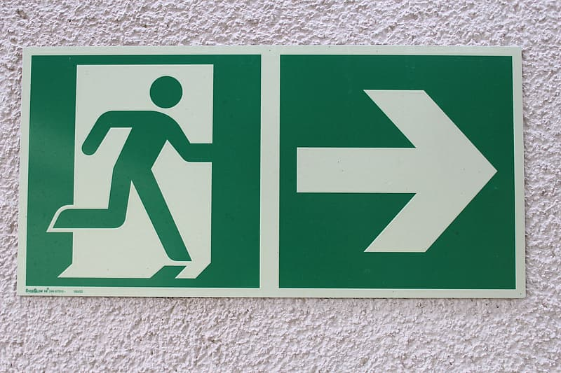 Green exit signboard