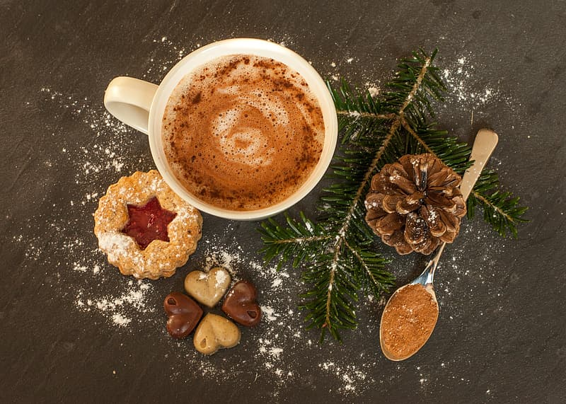 Cappuccino with cookies and pine tree