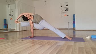 Woman doing yoga indoor