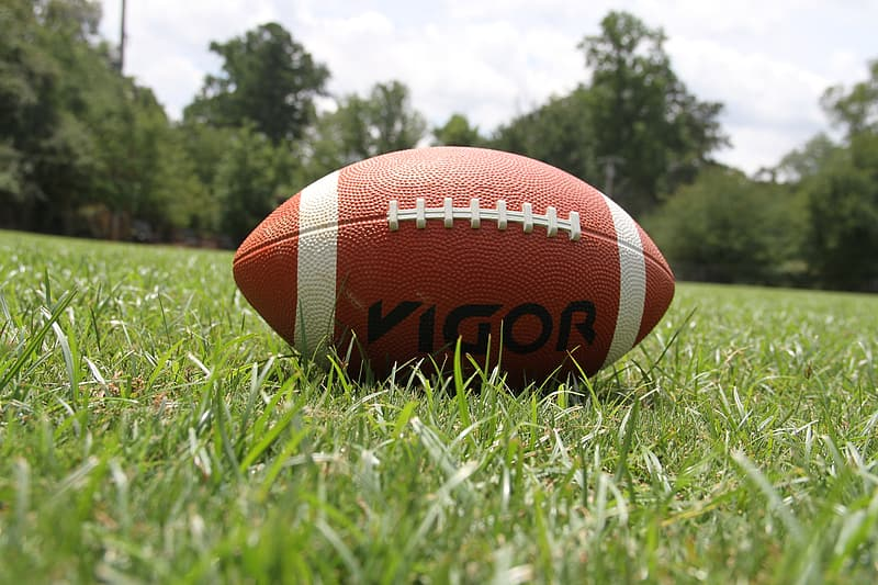 Vigor football pigskin on grass field