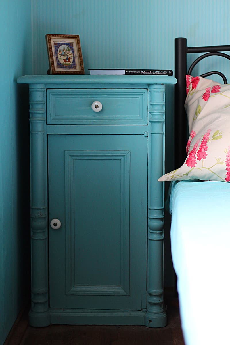 Blue Wooden Cabinet Beside Black Bed Pikrepo